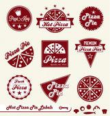"""Постер, картина, фотообои """"Векторный набор: Пицца магазин этикетки и значки"""""""