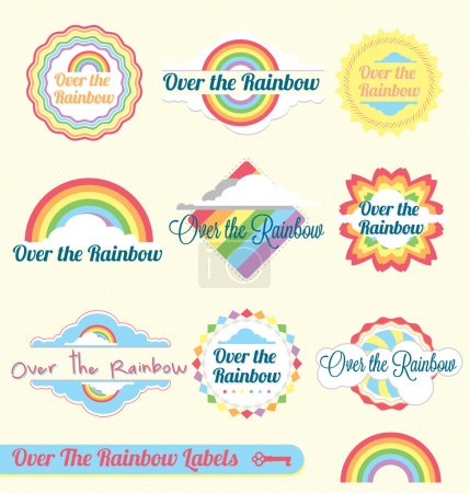 Illustration for Collection of Over the Rainbow labels and icons with vintage style and pastel coloring - Royalty Free Image
