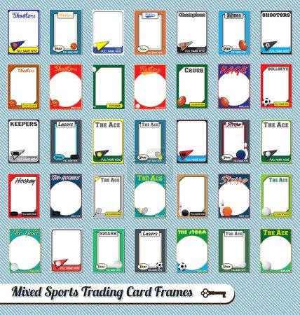 Illustration pour Collection de cadres de cartes à collectionner de style rétro pour les sports mixtes - image libre de droit