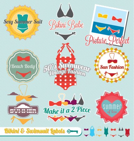 Vector Set: Retro Style Bikini and Swimsuit Labels