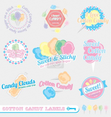 Illustration for Collection of vintage style cotton candy labels and icons - Royalty Free Image