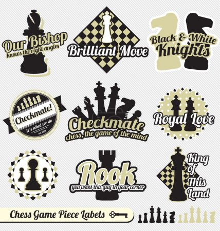Vector Set: Vintage Chess Piece Labels and Icons