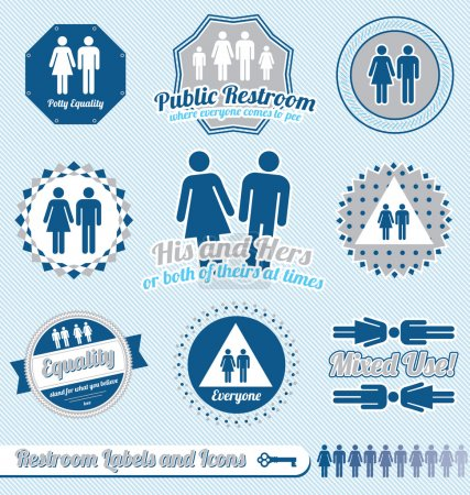 Illustration for Collection of retro style bathroom and restroom labels and icons - Royalty Free Image