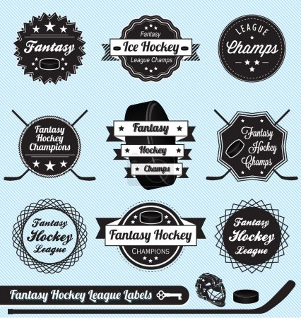 Vector Set: Fantasy Hockey League Labels and Icons