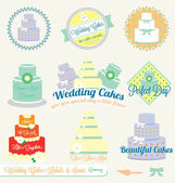 Collection of retro style wedding cake labels and icons