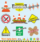 Vector Set: Work Safety and Construction Labels and Icons
