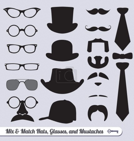Illustration for Mix and match collection of glasses, hats, mustaches, and ties - Royalty Free Image