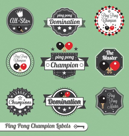 Vector Set: Vintage Ping Pong Champion Labels