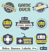 Collection or retro style video game labels icons and stickers