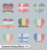 Collection of Europe flags as hearts made out of hearts