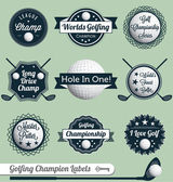 Collection of golfing labels and icons including putting driving and championships