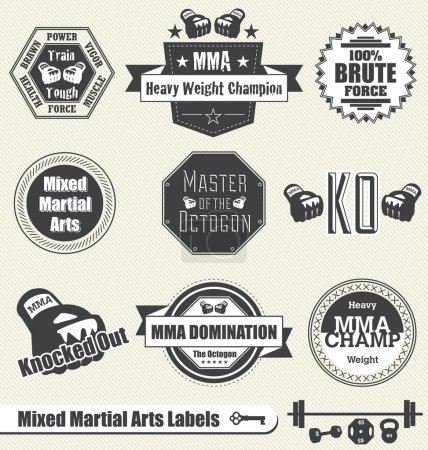Photo for Collection of MMA labels and icons with retry feel - Royalty Free Image