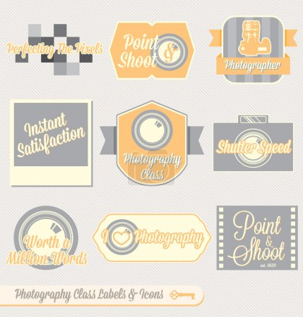 Illustration for Collection of retro style photography class labels and icons for back to school at college or high school - Royalty Free Image