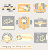 Collection of retro style photography class labels and icons for back to school at college or high school