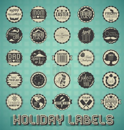 Illustration for Collection of retro style holiday labels and icons - Royalty Free Image