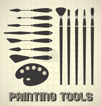 Vector Set: Painting Tools Silhouettes