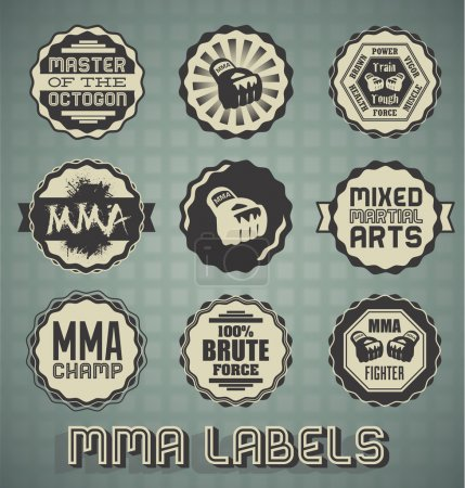 Vector Set: Vintage Style Mixed Martial Arts Labels