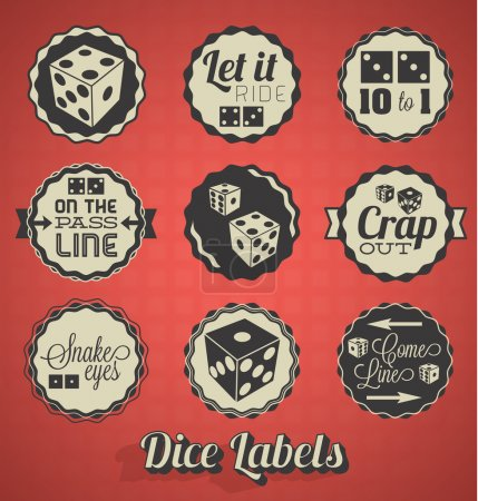 Vector Set: Vintage Dice and Craps Labels and Icons