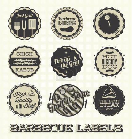Vector Set: Vintage Barbecue Labels and Icons