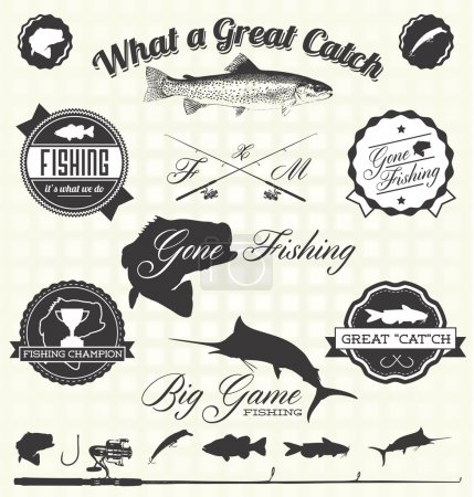 Illustration for Collection of vintage style gone fishing labels and icons - Royalty Free Image