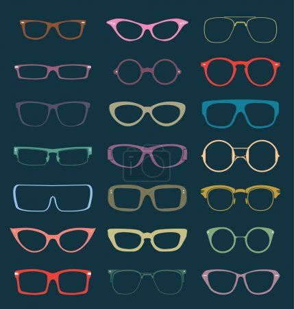 Vector Set: Retro Glasses Silhouettes