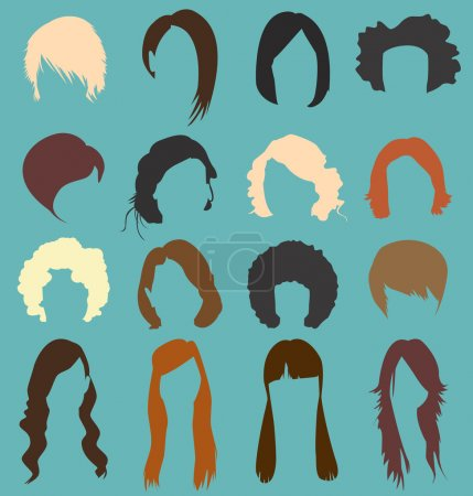 Illustration for Collection of retro and modern woman's hairstyle silhouettes - Royalty Free Image