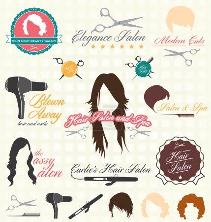 Illustration pour Collection d'étiquettes et d'icônes de salon de coiffure de style rétro - image libre de droit