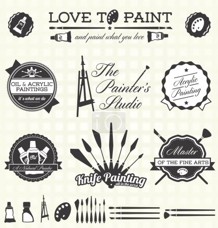 Illustration for Collection of retro style painter labels and icons - Royalty Free Image