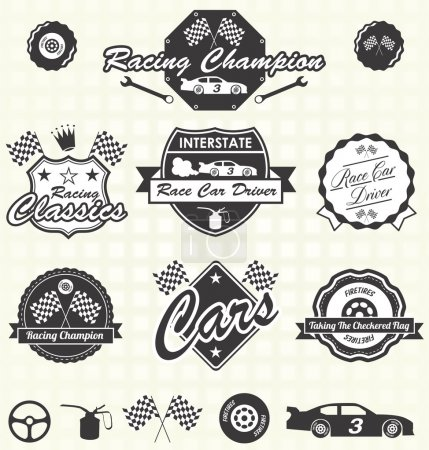 Vector Set: Retro Style Race Car Champion Labels and Icons