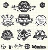 Vektorové sada: Retro stylu závodní auto šampion štítky a ikony