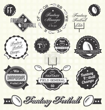 Vector Set: Retro Fantasy Football League Champion Labels