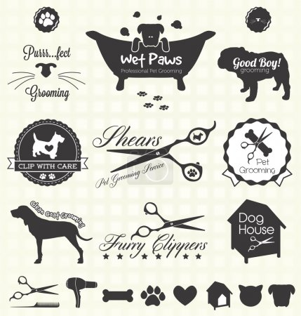 Photo for Collection of pet grooming shop labels and icons for dogs and cats - Royalty Free Image