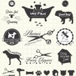 Collection of pet grooming shop labels and icons f...