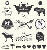 Collection of pet grooming shop labels and icons for dogs and cats