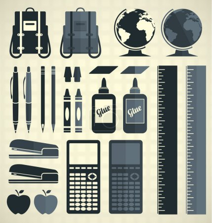 Vector Set: School Supplies Silhouettes and Icons