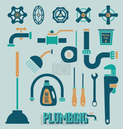 Illustration pour Collection d'icônes et de symboles de plomberie schématisés rétro - image libre de droit