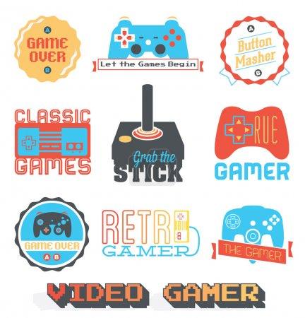 Vektor Stock: Retro Videospiel Shop Etiketten