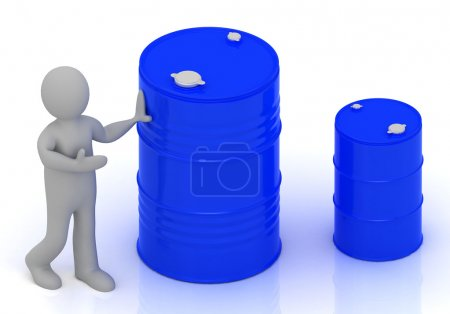 3D little person shows a barrel of oil