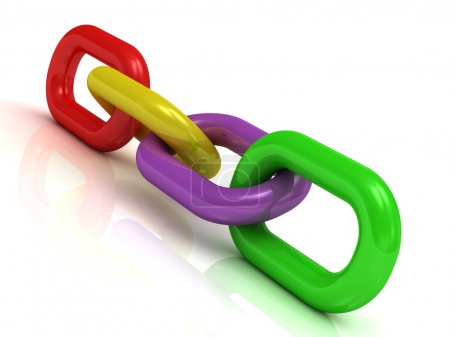Colorful plastic chain of four links