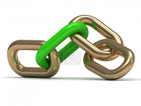 Gold chain link with a green plastic on a white background