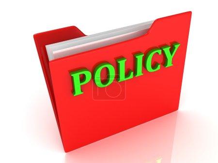 Foto de Letras de verde brillante política en una carpeta roja sobre fondo blanco - Imagen libre de derechos