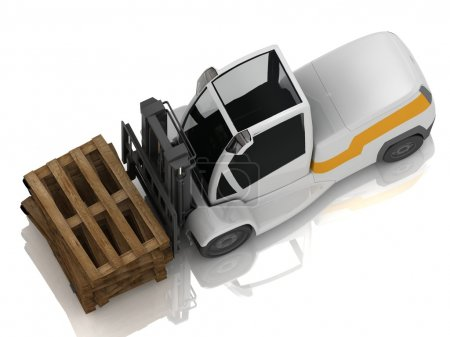 Electric Forklift transporting wooden pallets