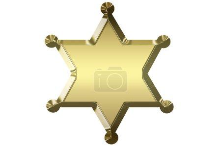 Photo pour Étoile de shérif or blanc isolé sur fond blanc. - image libre de droit