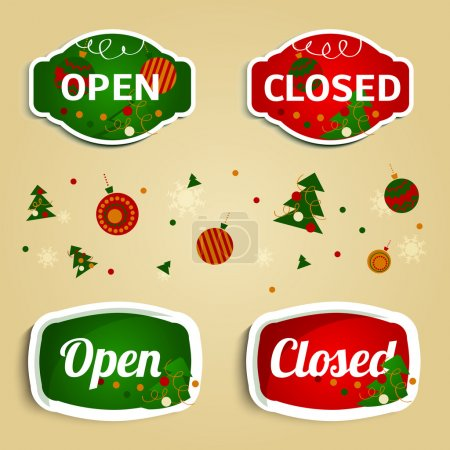 Open Closed New Year Labels