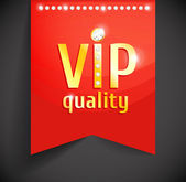 Vector golden vip banner on red ribbon with gems Diamond fashion design