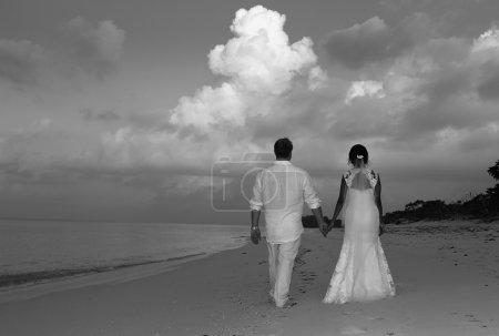 Photo pour Mariée Groom à la plage avec dos à la photo - image libre de droit