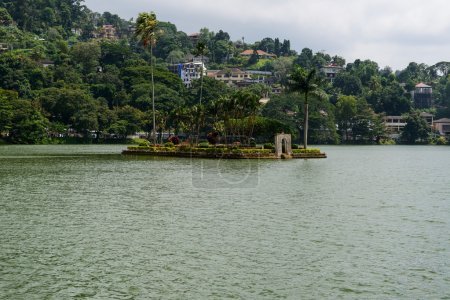 Sri Lanka. Island temple on the lake of Kandy.
