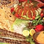 Постер, плакат: Sish kebab bulgur pilaf and pepper pure
