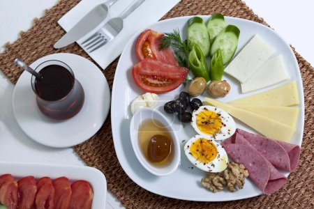 Photo for Rich and delicious Turkish breakfast on white wood table - Royalty Free Image