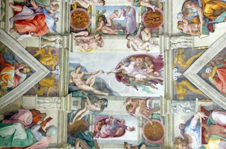 Photo for Michelangelo's masterpiece: Sistine Chapel ceiling with Creation of Adam in center - Royalty Free Image